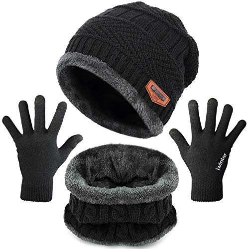 Maylisacc Winter Knit Hat Scarf and Glove Set 3 Pcs for Men Women Touchscreen Gloves Black