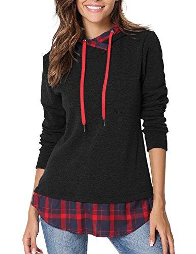 Yidarton Womens Plaid Long Sleeve Tops Pullover Hoodie Sweatshirts