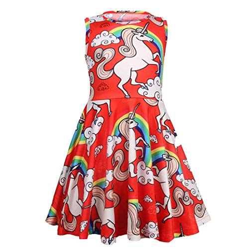 Tkiames Easter Dress Rainbow Floral Printed Spring Summer Sleeveless Dress 3-8 Years