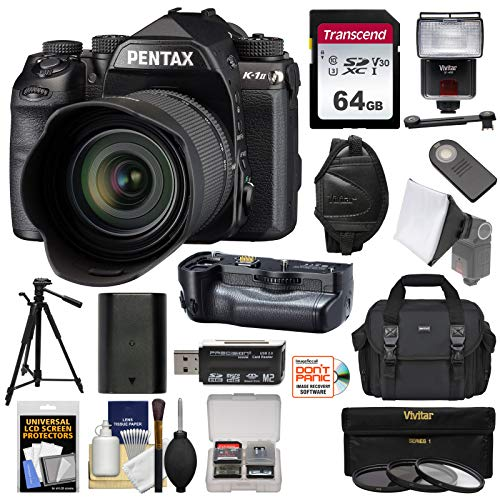 (Pentax K-1 Mark II Full Frame Wi-Fi Digital SLR Camera & FA 28-105mm Lens with D-BG6 Grip + 64GB Card + Battery + Case + Flash + Tripod + Kit)