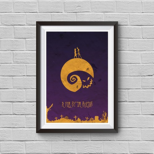 The Nightmare Before Christmas Minimalist Poster Tim Burton Alternative Movie Print Halloween Vintage Pop Culture and Modern Home Decor Cinema Poster Artwork Wall Art Wall Hanging Cool Gift (Cool Halloween Posters)