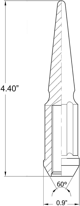 Wheel Accessories Parts 20 Spline Spike Lug Nut Full Kit 9//16 for Dodge and Ram Metal Lugs Premium Black