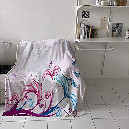 maisi Nature Warm Microfiber All Season Blanket Curved Giant Flower Bodies and Butterflies Flying Spring Style Artsy Design Print Artwork Image 60x50 Inch Lilac Pink Sky ()