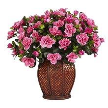 Nearly Natural 6653 Azalea with Vase Decorative Silk Plant Beauty