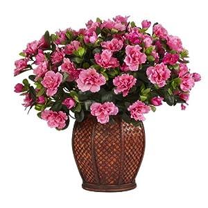 Nearly Natural 6653 Azalea with Vase Decorative Silk Plant Beauty 12
