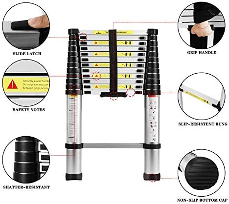 Size : 3.2M/10.5FT 330 lbs Capacity Aluminum Telescoping Ladder Multi-Purpose Telescopic Extension Heavy Duty Compact Ladder Non Slip for Industrial Household Daily or Emergency Use