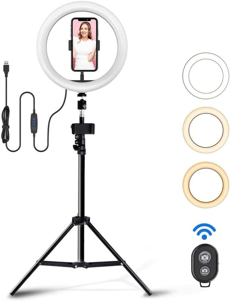 TGOOD 10 inch LED Selfie Ring Light with Tripod Stand & Phone Holder for Live Streaming/Makeup/TIK Tok/YouTube Video, Dimmable Camera Lamp Fill Light for Photography Vlogging Shooting Vlog USB Plug