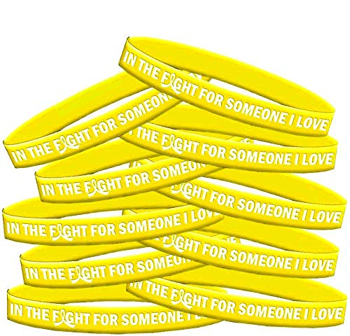 in The Fight for Someone I Love Endometriosis Bladder Cancer Sarcoma Wristband Bracelet 10-Pack (Yellow) -