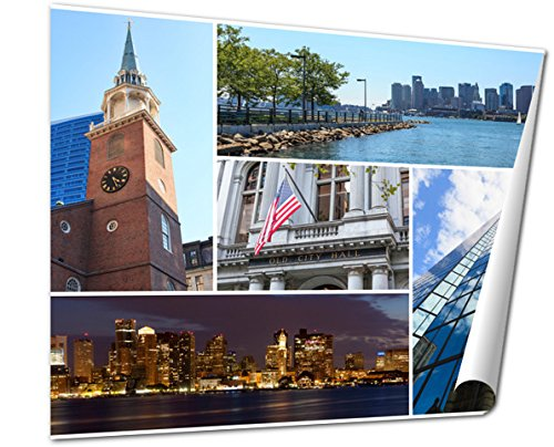 Ashley Giclee Boston Massachusetts Famous Landmarks Picture Collage Usa wall art poster print for