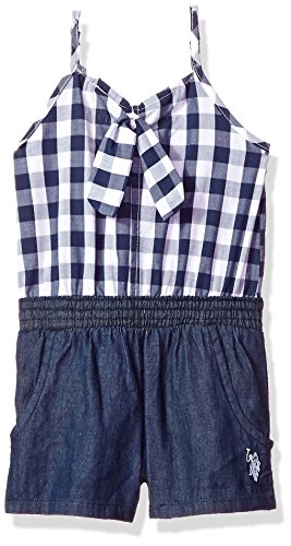 U.S. Polo Assn. Girls' Toddler Romper, Gingham Plaid Knot tie Peacoat, 4T