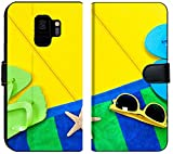 Liili Premium Samsung Galaxy S9 Flip Micro Fabric Wallet Case A Beach Towel flip Flops and Sunglasses on a Colorful Yellow Wooden Deck with The Presence Image ID 1481578