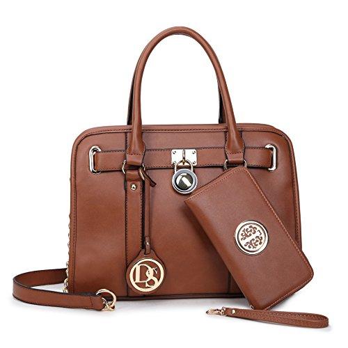 MMK collection Women Fashion Pad-lock Satchel handbags with wallet(2553)~Designer Purse for Women ~Multi Pocket ~ Beautiful Designer Handbag Set(Kk-03-7103w-BR) (Leather Kelly Purse Handbag)