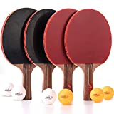 tabletop tennis kit - Jebor Ping Pong Paddle and Table Tennis Rackets and Set of 4 with Pure Log and Long Handle Professional/Recreational Game Racquet, Practice Training Bat, Accessories Bundle Portable Kit Cover Case B