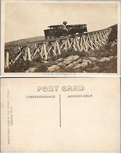 Train Photo Railroad Real (MT.WASHINGTON COG RAILWAY N.H. RPPC ANTIQUE REAL PHOTO POSTCARD railroad train)