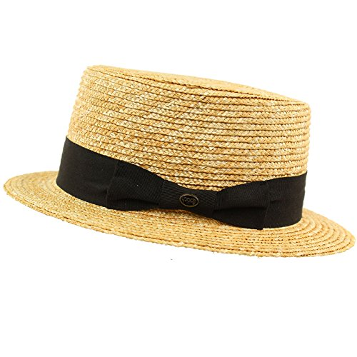 Unisex Maize Straw Flat Top Pork Pie Boater Derby Fedora Sun Hat Natural 7-1/4 (Maize Fedora Hat)