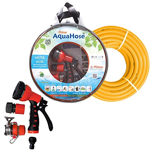 AquaHose Water Hose Set 15mtr ISI Hose Orange  12.5mm ID   Soft Grip 7 Function Spray Gun Set with Lock for Continuous Flow   Tap Adapter with Easy to