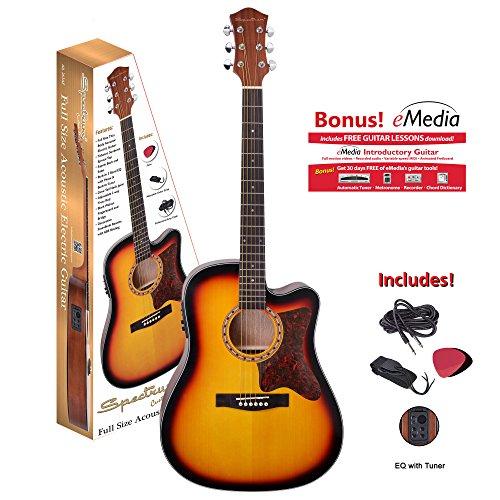 Spectrum 6 String Acoustic Guitar Pack, Tobacco Sunburst, 41