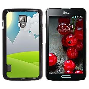 Be Good Phone Accessory // Dura Cáscara cubierta Protectora Caso Carcasa Funda de Protección para LG Optimus L7 II P710 / L7X P714 // Minimalist Grass Valley