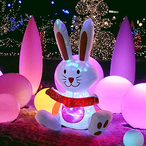 VIVOHOME 4ft Height Inflatable LED Lighted Happy Easter Bunny Outdoor Yard Decoration -