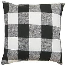 1 Piece 18x18 White Black Plaid Throw Pillow, Cabin Lodge Checkered Checked Theme Pillows, Lake House Vintage Tartan Madras Lumberjack Stripe Rugby Stripes Horizontal Vertical Striped Checker, Cotton