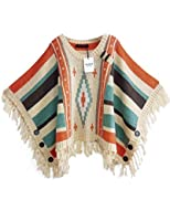 Mantos Eternity Women's Cape Style Batwing Sleeve Tassels Hem Cloak Knitting Sweater