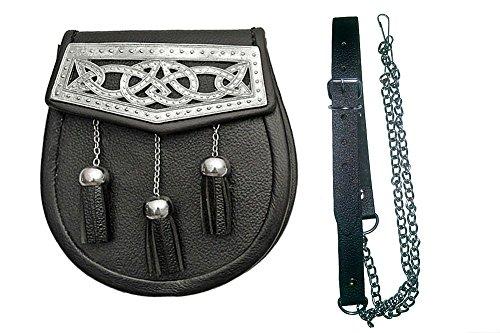 Authentic Black Leather Scottish Kilt Sporran Laced Trim with Embellishments