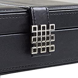Ring Box Organizer - 54 Slot Classic Jewelry Display Case Holder - Storage Tray with Modern Buckle Closure, Large Mirror - Holds Rings and Cufflinks - Small for Travel - PU Leather - Black