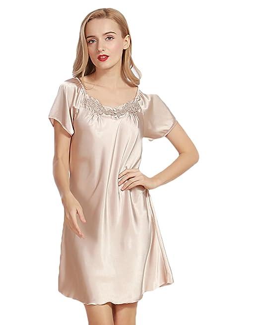 WanYang Mujer Vestido Ropa De Dormir Para Satén Camisón Pijama Ropa Interior De Aspecto Brillante