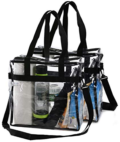 (Clear Tote Bag NFL Stadium Approved - 2 PACK - Shoulder Straps and Zippered Top. Perfect Clear Bag for Work, School, Sports Games and Concerts. Meets NFL Tournament Guidelines. (12 x 12 x 6 Inches))