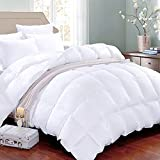 King Soft Down Alternative Quilted Comforter Summer Cooling Duvet Insert with Corner Ties, Fluffy Lightweight Warm for All Season,Hypoallergenic Reversible Hotel Collection White,90 by 102 inch