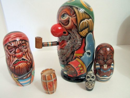 5pcs Exclusive Hand Painted Russian Nesting Doll of PIRATES W/ PIPE
