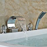 Rozinsanitary Luxury Crystal Ball Handles C Curved Waterfall Bathtub Faucet W/ ABS Hand Shower