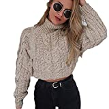 Hemlock Women Winter Knitted Sweater Turtleneck Cropped Sweater Coat High Collar Outerwear Pullovers Khaki