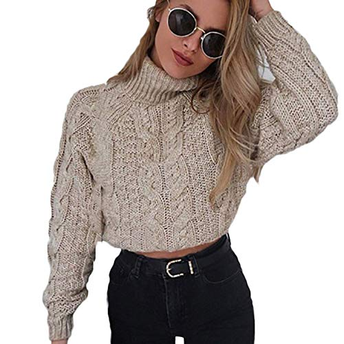 Hemlock Women Winter Knitted Sweater Turtleneck Cropped Sweater Coat High Collar Outerwear Pullovers ()