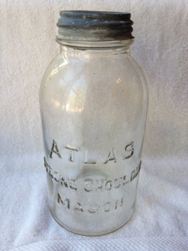 Vintage Atlas Strong Shoulder Mason Jar with Zinc Lid Half (Atlas Strong Shoulder)