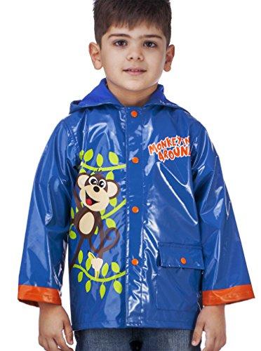 Little Boy's Blue Monkeyin' Around Raincoat - Size 7