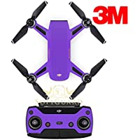 SopiGuard 3M Matte Purple Precision Edge-to-Edge Coverage Vinyl Sticker Skin Controller 3 x Battery Wraps for DJI Spark