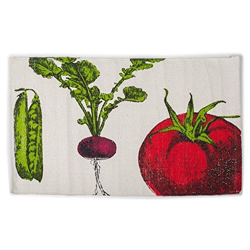 Tomato Snap Pea Beet Vegetable 21 x 34 Inch Cotton Hand Woven Floor Mat -