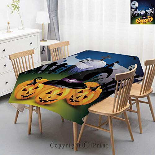 Premium Linen Printed Tablecloth,Ideal for Grand Events and Regular Home Use,Machine Washable,55x87 Inch,Halloween,Funny Cartoon Design with Pumpkins Witches Hat Ghosts Graveyard Full Moon Cat -