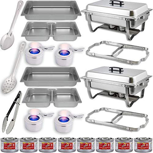 Chafing Dish Buffet Set w Fuel Folding Frame Divided pan 4qt x 2 Food Pan 8 qt Water Pan 4 Fuel Holders 8 Fuel Cans Utensils 11 Solid Perforated Spoon 9 Tongs 2 Full Warmer Kit