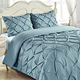 King & Queen Home Reinforced Double Stitch 3 Piece Pinch Pleat Comforter Set (Full, Spa Blue)