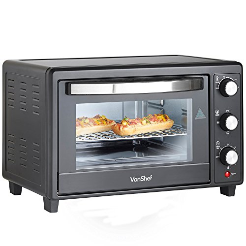 -[ VonShef 30L Black Mini Oven & Grill 1600W with Baking Tray & Wire Rack  ]-