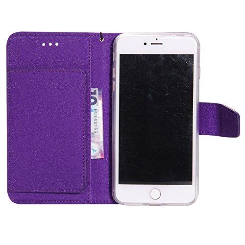 JIALUN-carcasa de telefono Desmontable 2 en 1 PU + TPU funda de cuero, cubierta de la caja con ranuras de tarjeta de crédito y cordón y cierre magnético para el iPhone 7 Plus ( Color : Black ) Purple