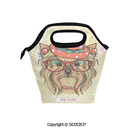 (Insulation portable lunch box bag Be Cute Portrait of an Adorable Dog with Earrings Necklace Glasses Hat Makeup Soft Fabric lunch bag Mummy bag.)