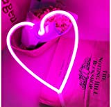 Heart Neon Signs LED Decor Light Wall Decor for Christmas Decoration Birthday Party Home LED Decorative Lights Wedding Event Banquet Party Decor(Pink)