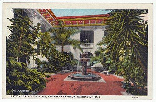 Patio and Aztex Fountain, Pan-American Union, Washington D.C. Vintage Original Postcard #1654 - 1950's