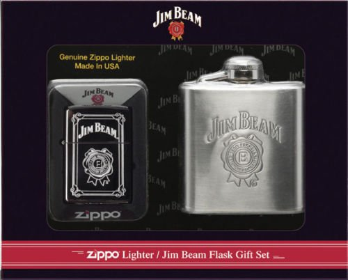 (Zippo Jim Beam Lighter Flask Gift Set)