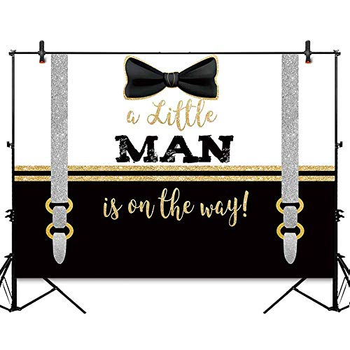 Allenjoy 7x5ft Little Man Tie Party Backdrop Boys Gentleman Baby Shower Banner Cake Table Gold and Black Baptism Decorations Photography Background Photo Studio Booth -