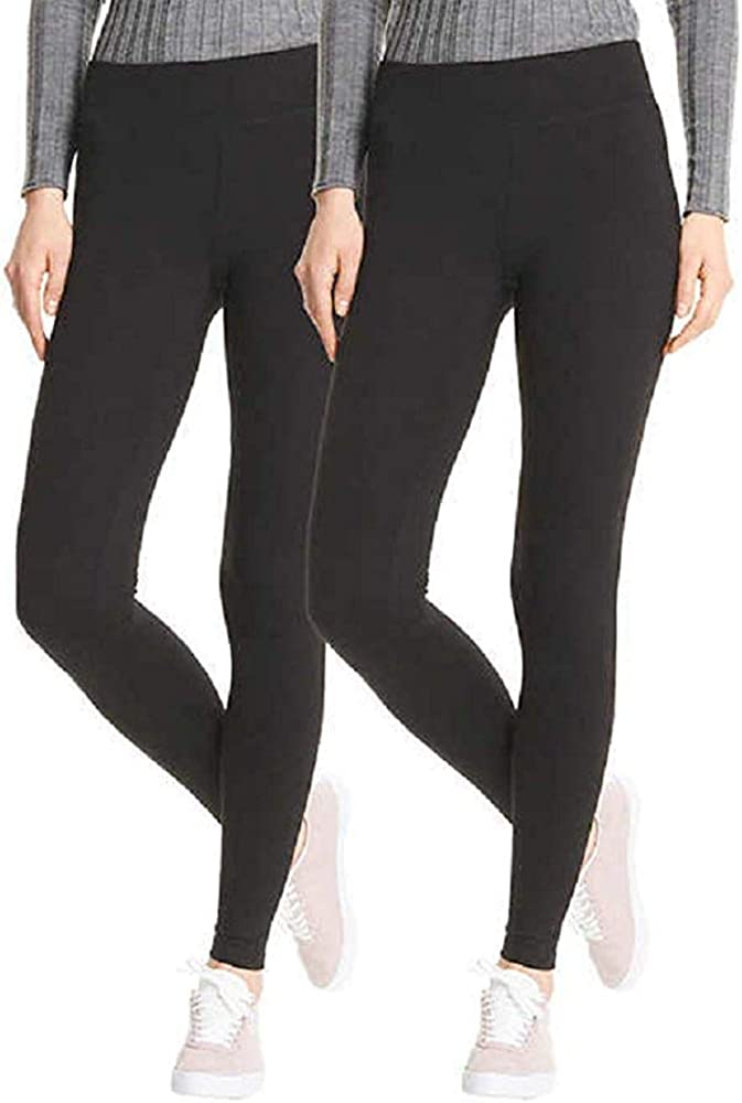 HUE Perfect Fit Every Day Leggings, Wide Comfortable Waistband, Ultra Soft Cotton, Mid-Rise, 2 Pack (Black, Small): Amazon.es: Ropa y accesorios