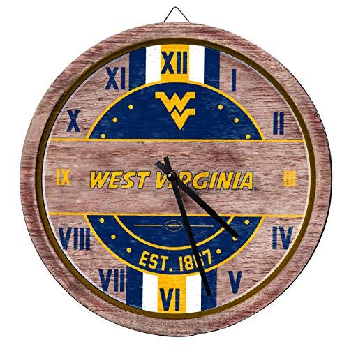 FOCO NCAA West Virginia Mountaineers Team Logo Wood Barrel Wall ClockTeam Logo Wood Barrel Wall Clock, Team Color, One - Wall Logo Virginia